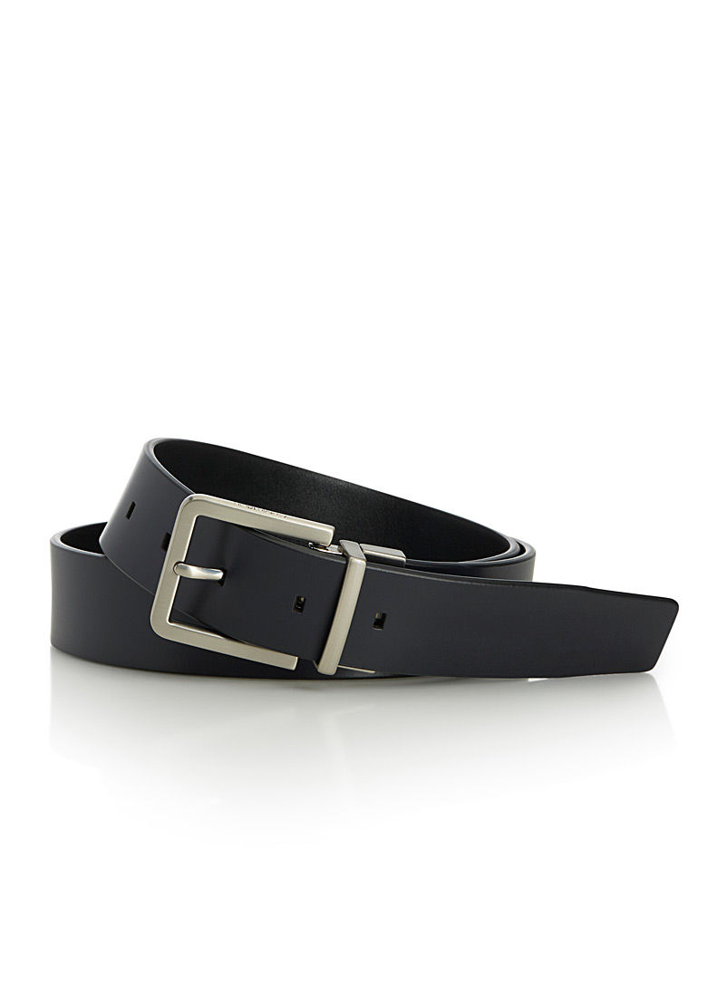 Reversible leather belt - Dressy - Marine Blue