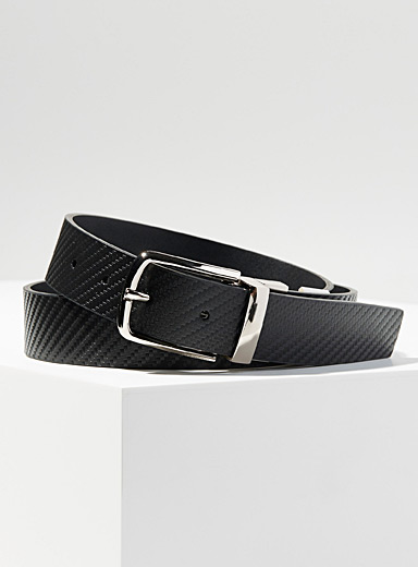 Calvin Klein Black Textured reversible belt for men