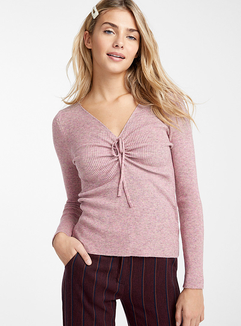 Twik Pink Gathered V-neck ribbed sweater for women
