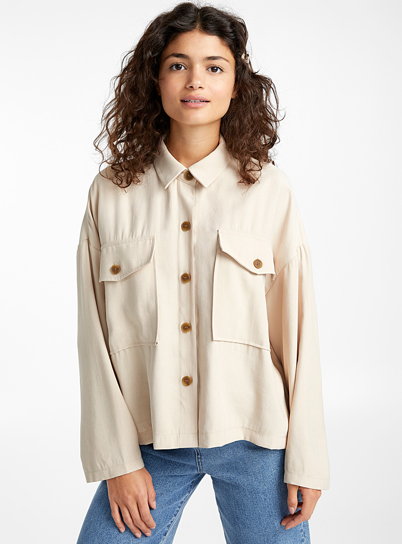 Mega pocket shirt - Shirts - Cream Beige