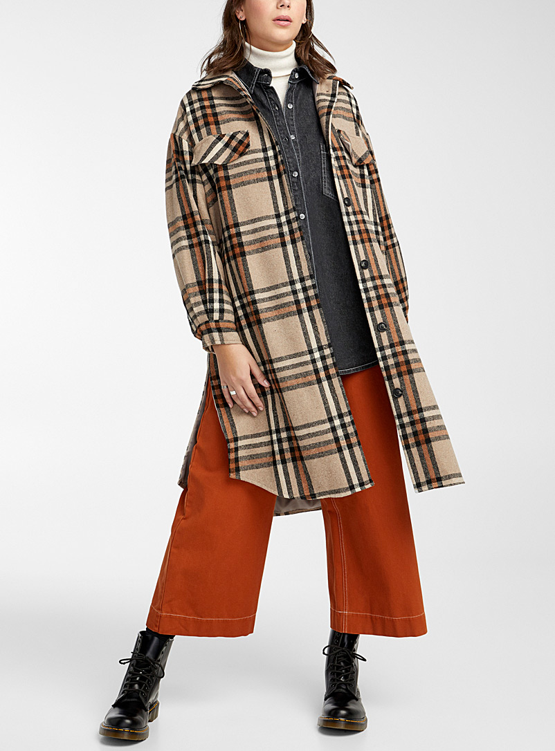 Twik Patterned Brown Orange and lime check wool for women