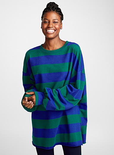 Bubble sleeve striped sweatshirt