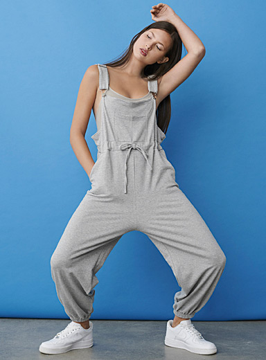 Twik Grey Utility sweat overalls for women