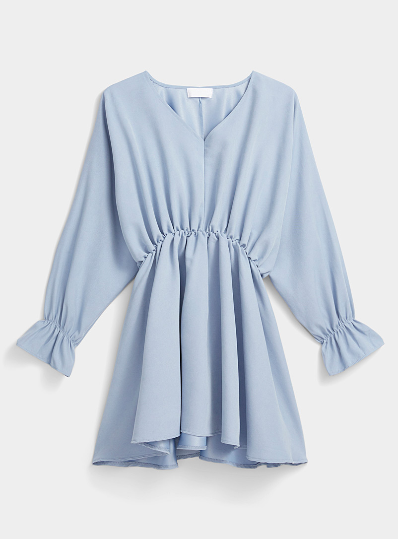 Twik Baby Blue Cinched flared-cuff dress for women