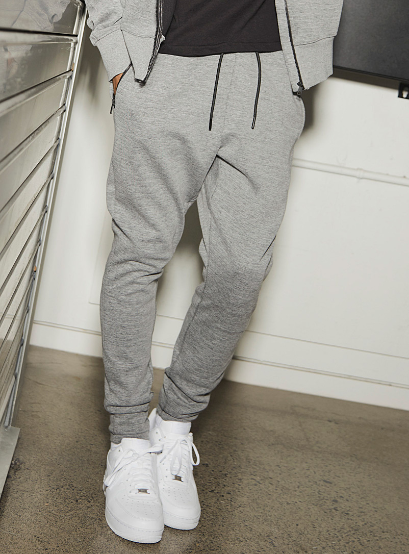 Djab Grey Double-jersey slim joggers for men