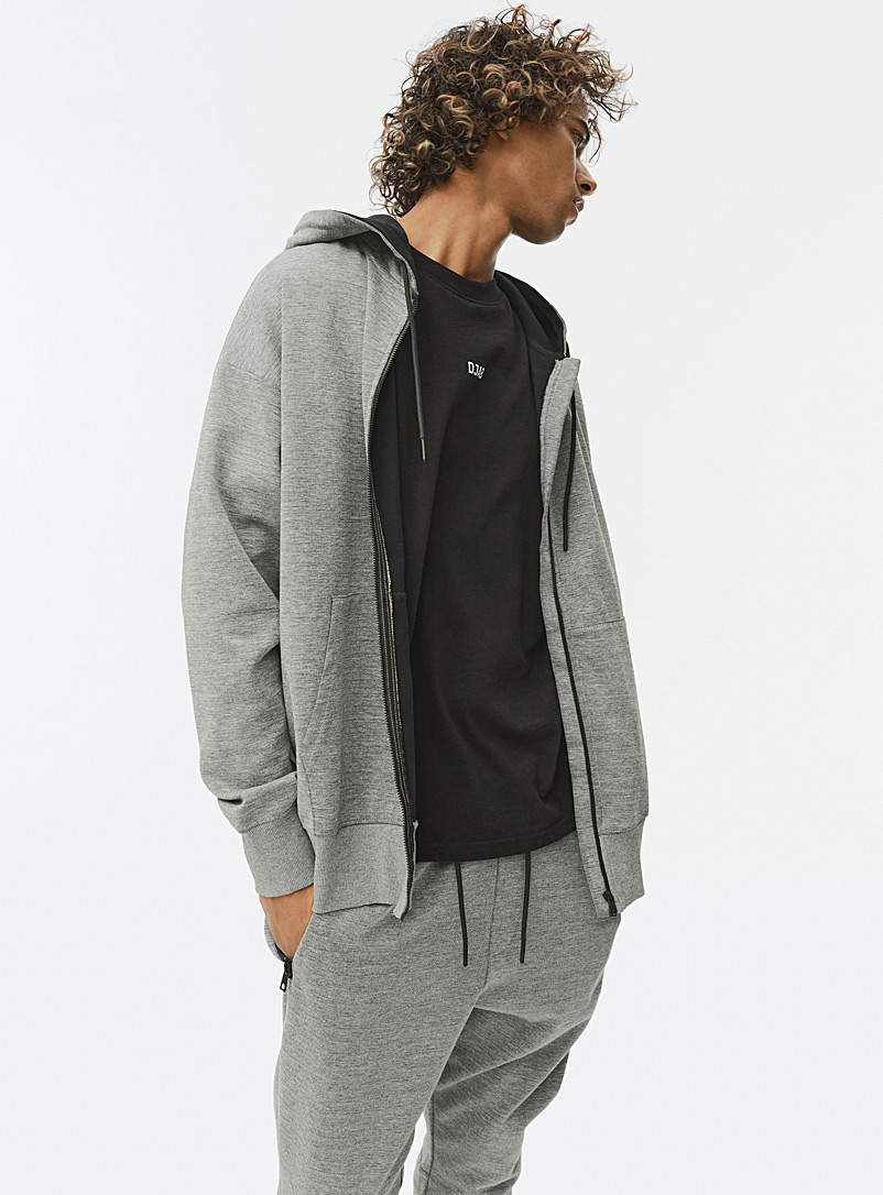 Djab Grey Double-jersey zip hoodie for men