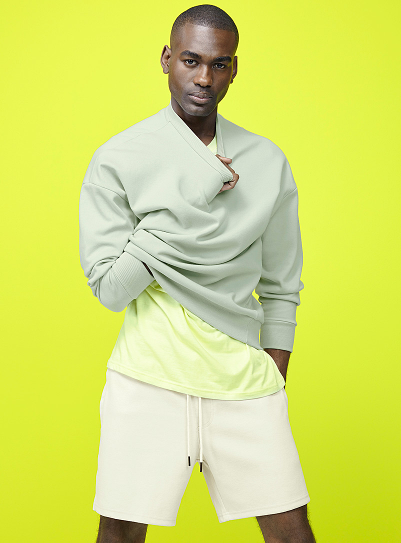 Le 31 Lime Green Minimalist structured sweatshirt for men