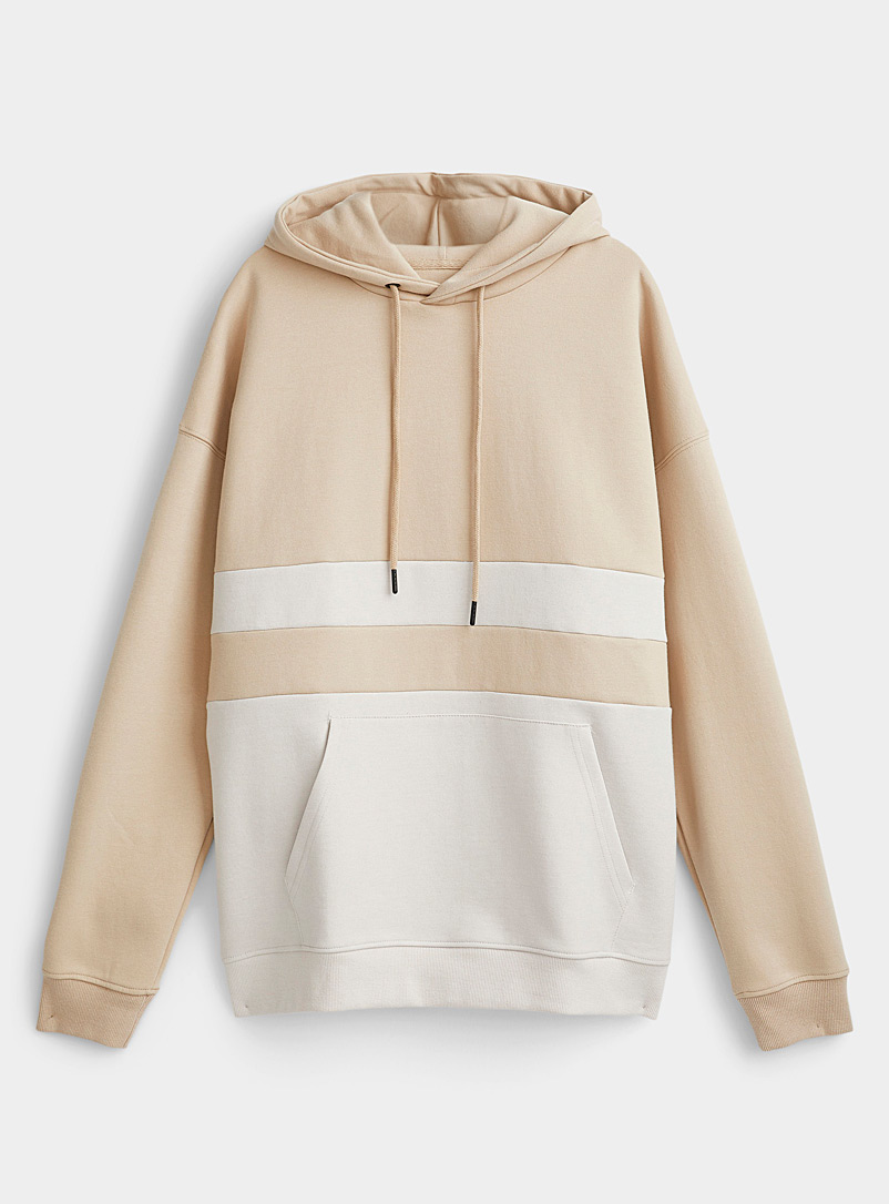 Le 31 Sand Block-style structured hoodie for men