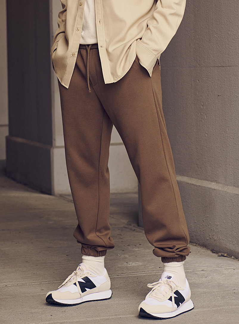 Le 31 Brown Minimalist structured jersey joggers for men
