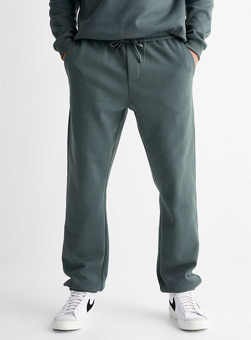Le 31 Green Minimalist structured jersey joggers for men
