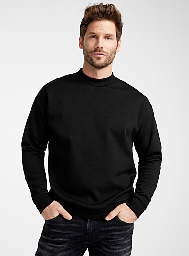 Le 31 Black Modern mock-neck sweatshirt for men