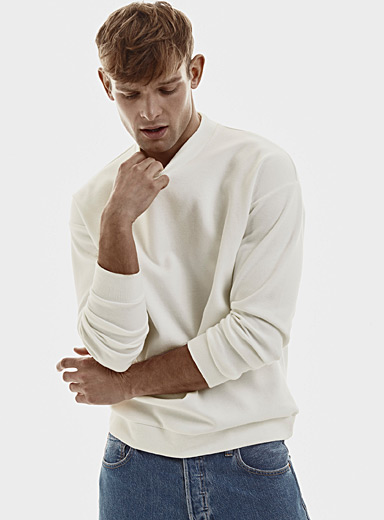 Le 31 Ivory White Modern mock-neck sweatshirt for men