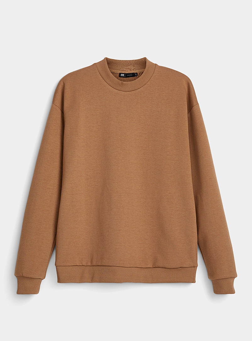 Le 31 Brown Modern mock-neck sweatshirt for men