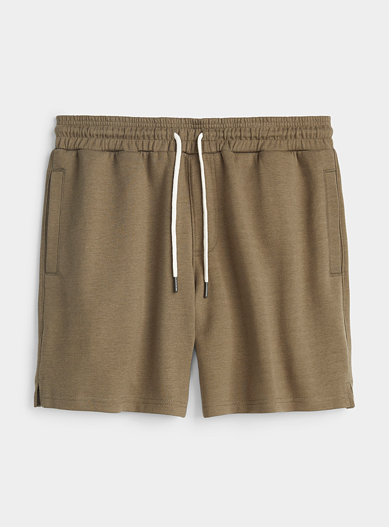 Le 31 Khaki Structured sweat short for men