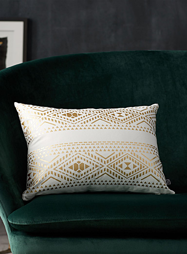 Metallic stencil stripe cushion <br>35 x 50 cm