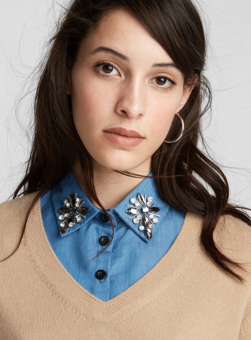 Jewelled chambray shirt collar - Useful & Chic Extras - Dark Blue