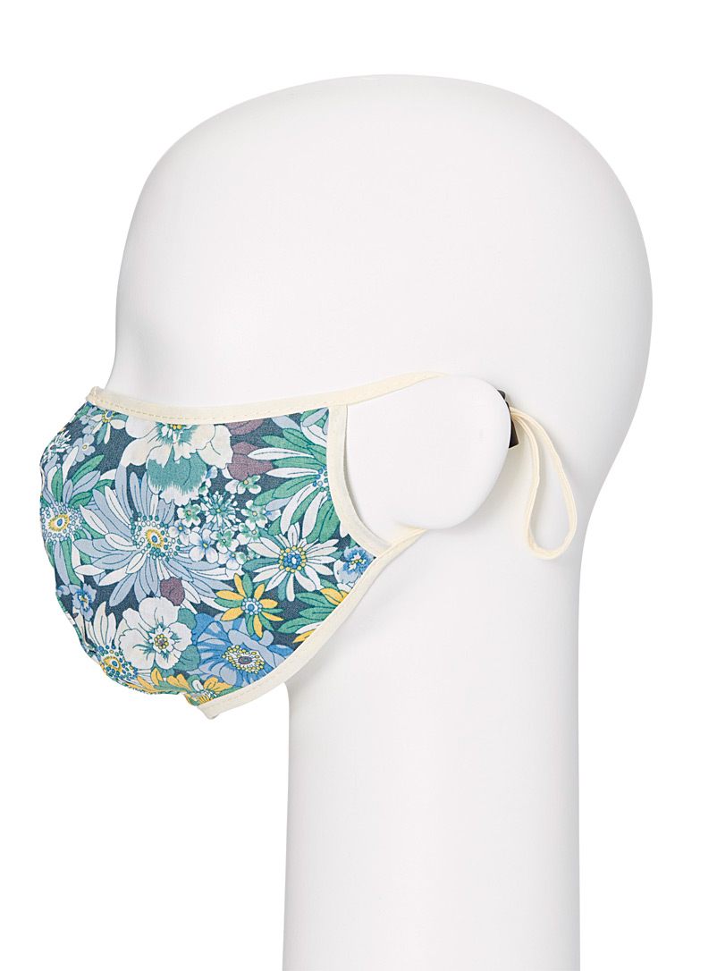 Simons Patterned Blue Floral art fabric mask for women