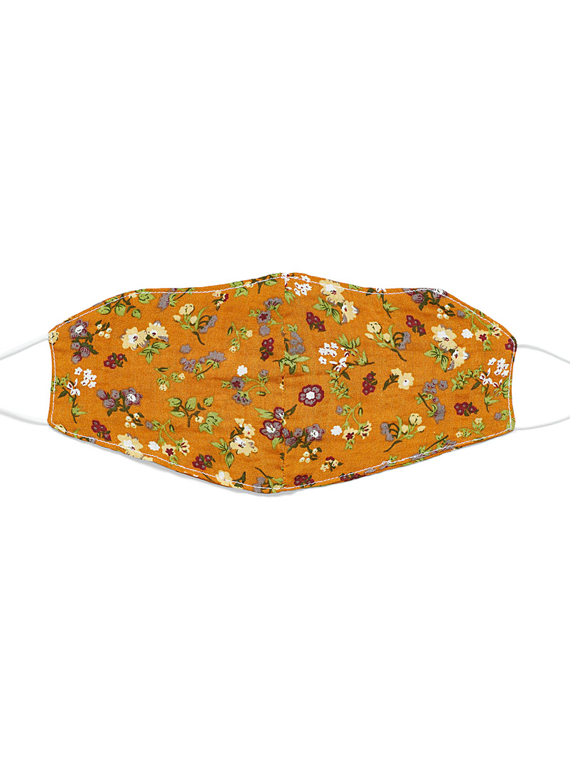Simons Patterned Red Retro floral fabric face mask for women