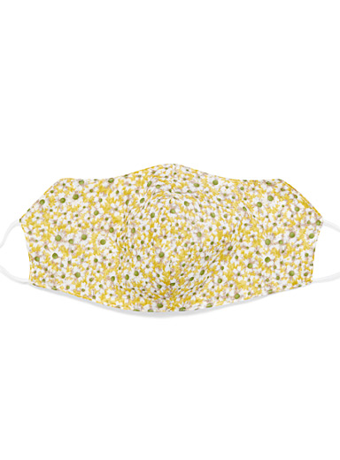 Simons Patterned Yellow Daisy fabric face mask for women