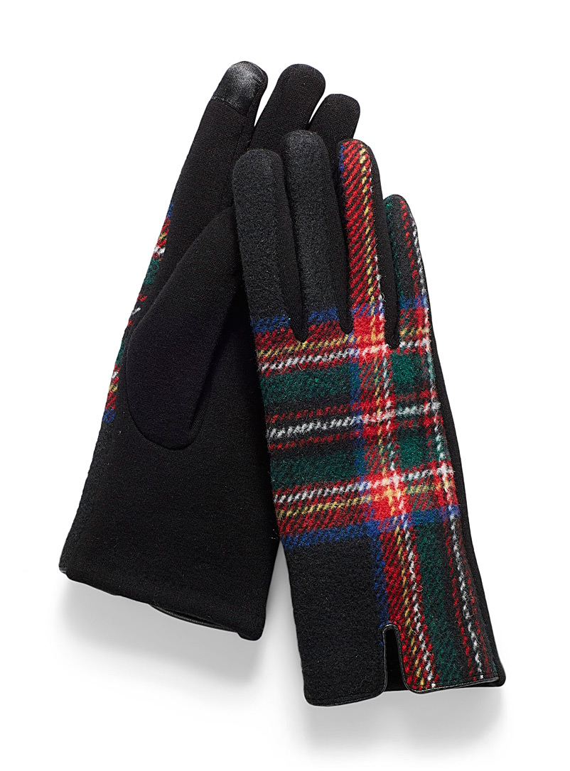Simons Patterned Black Contrast palm tartan tactile gloves for women