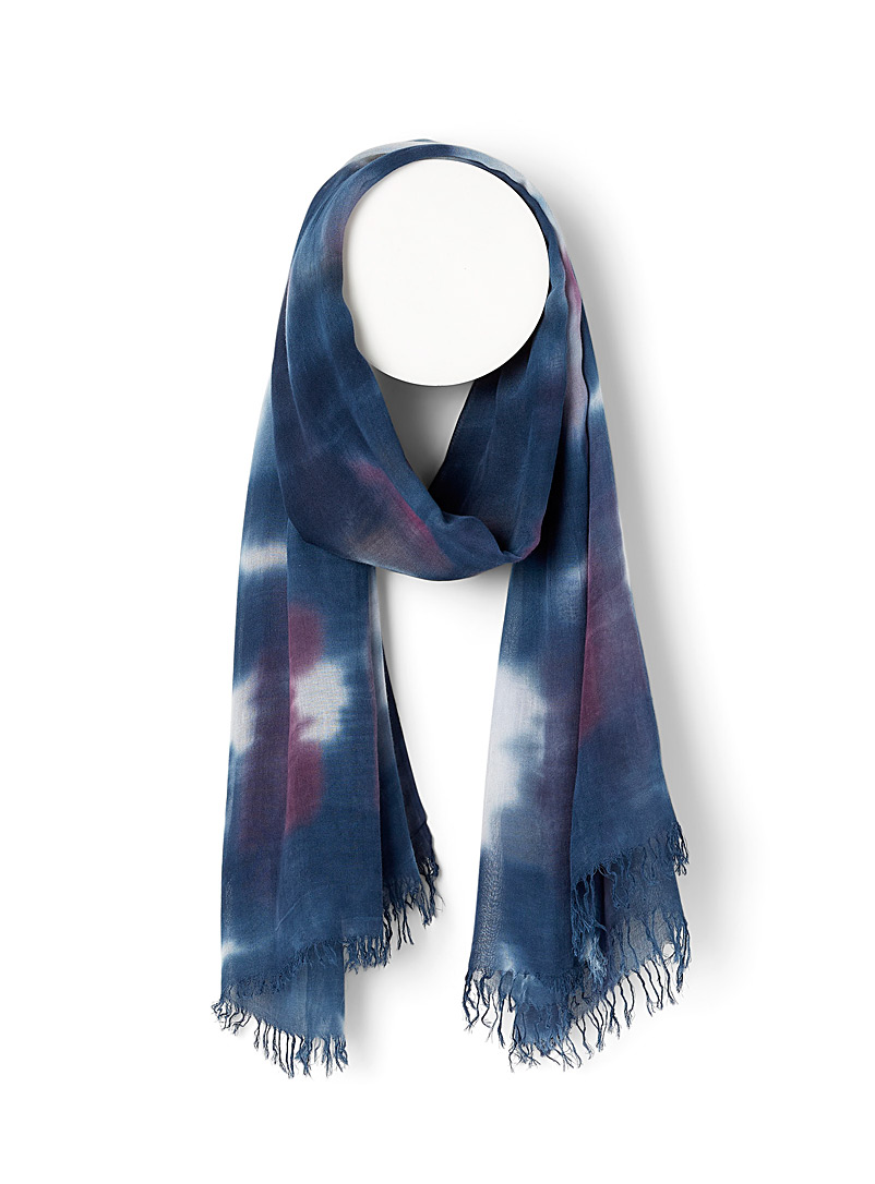 Simons Patterned Blue Tie-dye depths scarf for women