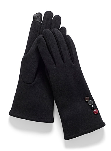 Simons Black Chic button stretch tactile gloves for women