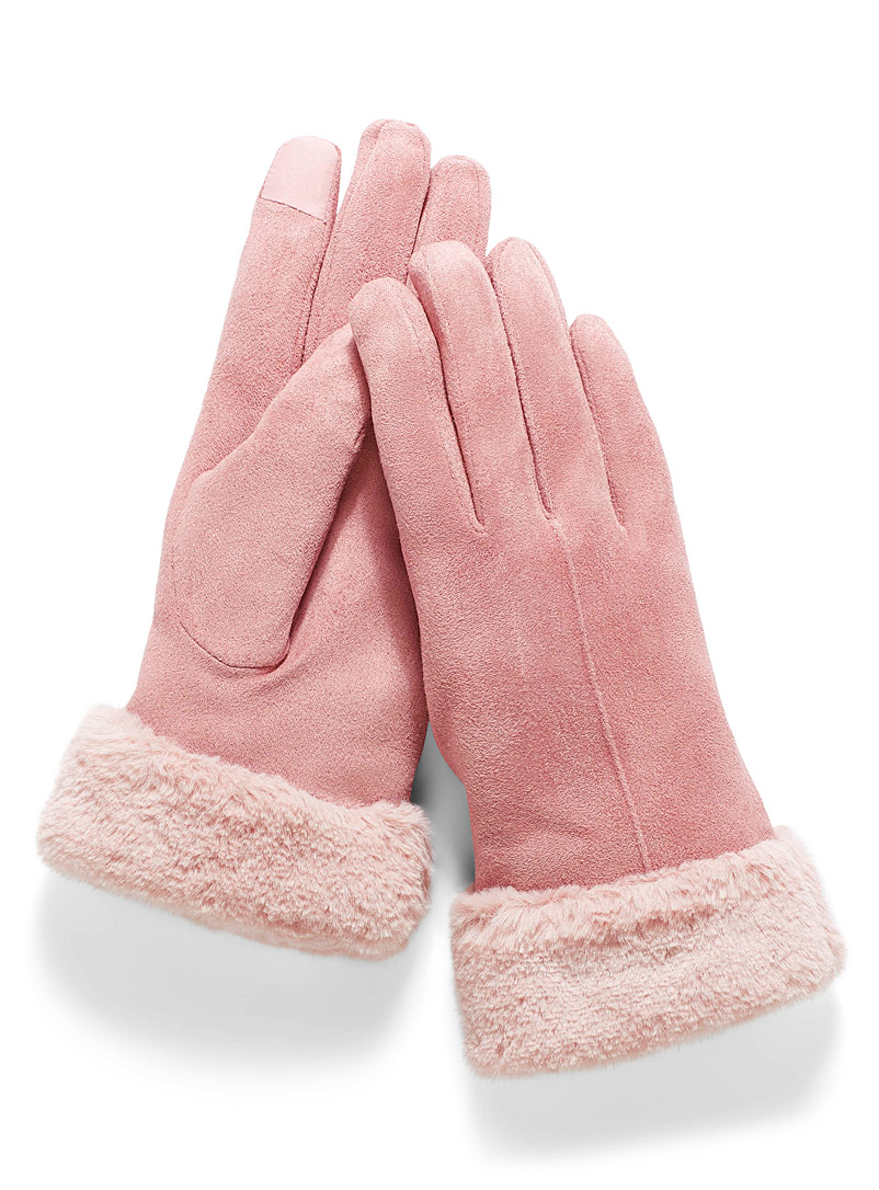 Simons Pink Faux-fur trim gloves for women