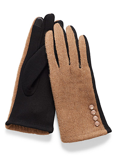 Simons Honey Two-tone buttoned cuff gloves for women