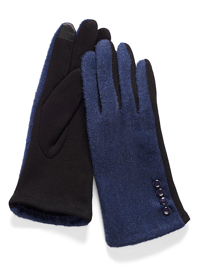 Simons Marine Blue Two-tone buttoned cuff gloves for women