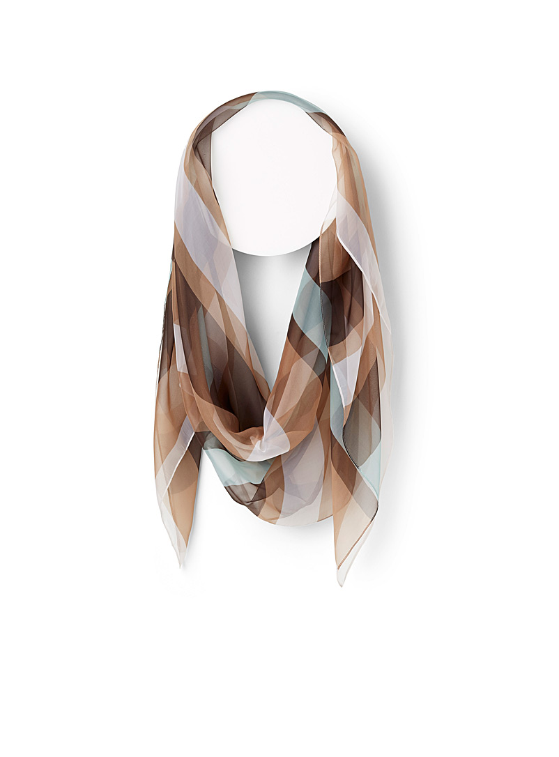 Simons Patterned Brown Sheer stripe scarf for women