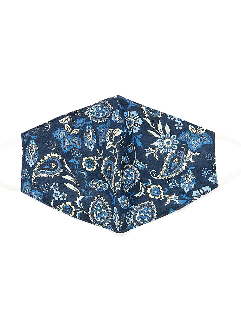 Simons Patterned Blue Nocturnal paisley fabric mask for women