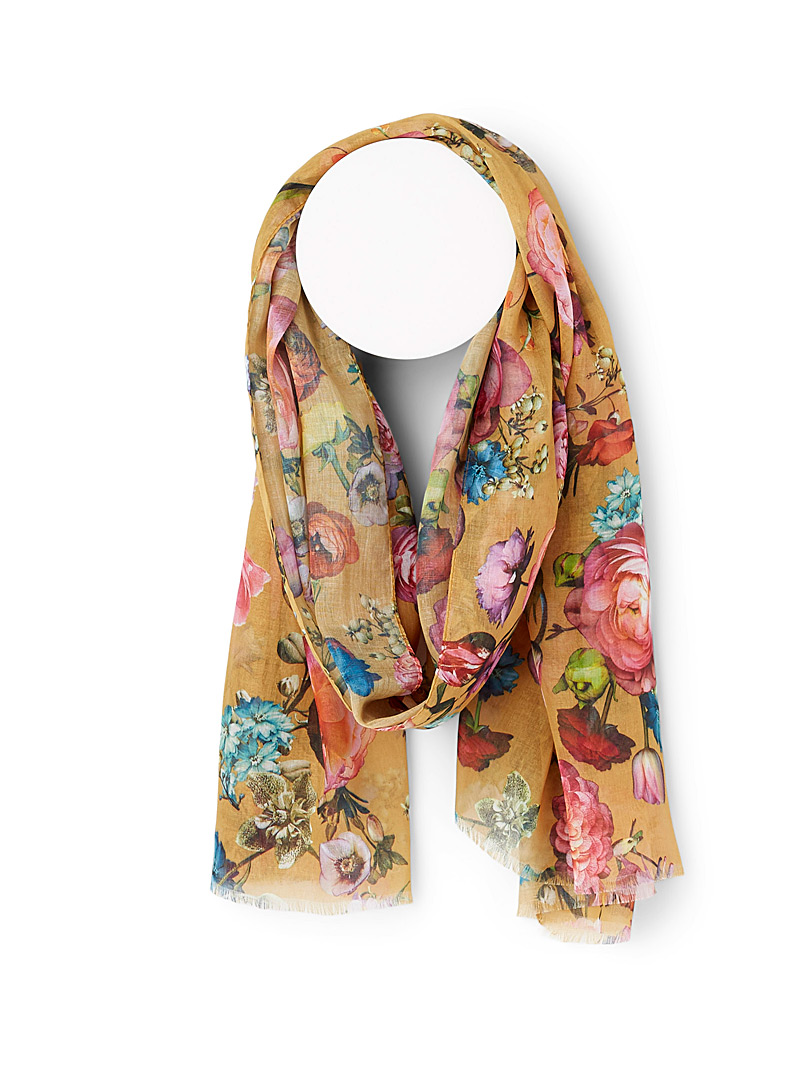 Simons Patterned Yellow Digital bouquet scarf for women