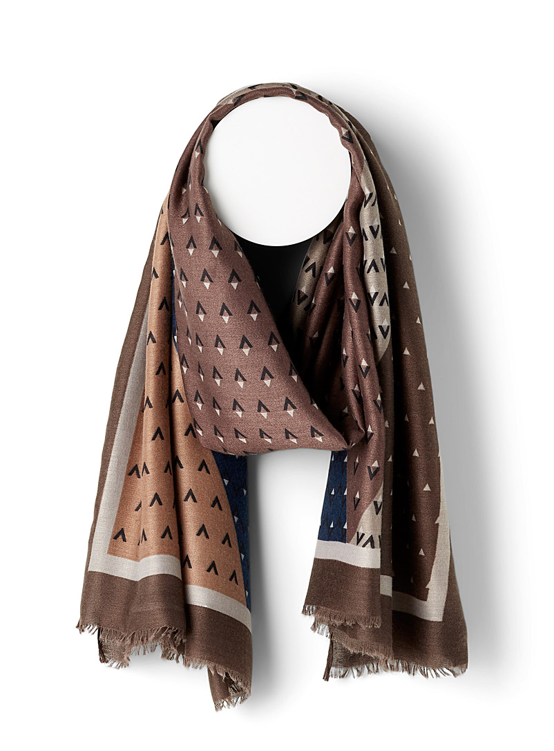 Simons Patterned Brown Triangular punctuation scarf for women