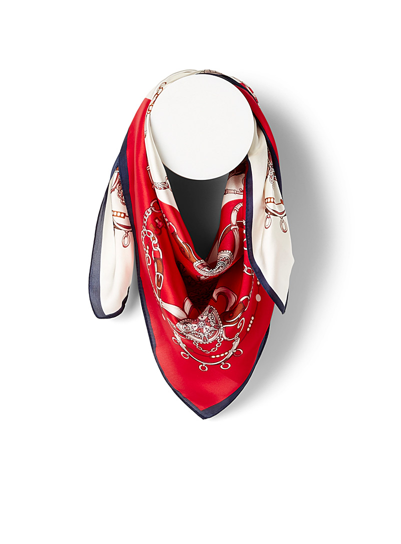 Simons Patterned Red Jewellery harness scarf for women