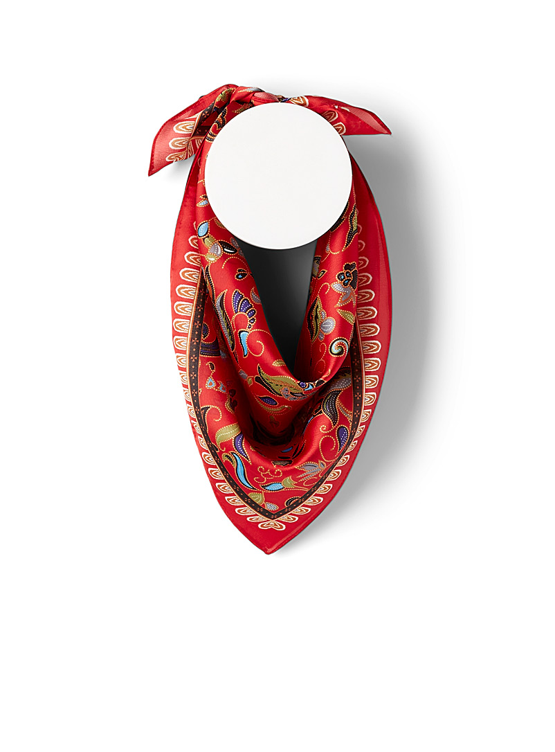 Simons Patterned Red Dotwork paisley scarf for women