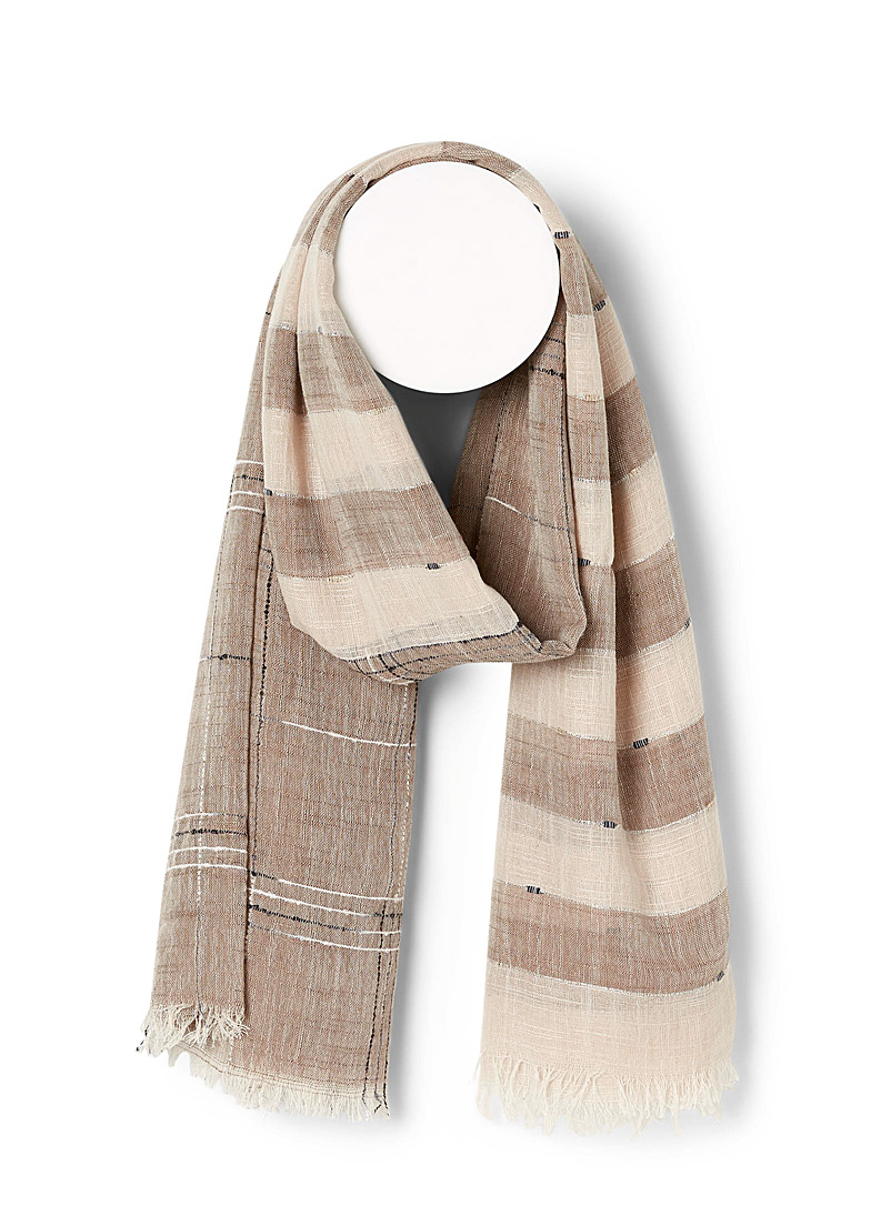 Simons Patterned Brown Rustic block scarf for women
