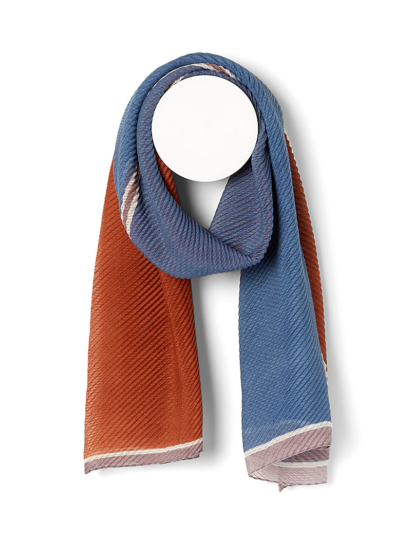 Simons Patterned Orange Colour block pleated scarf for women