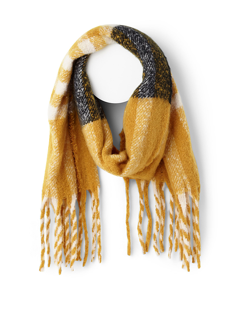 Pixelated plaid scarf - Winter Scarves - Golden Yellow