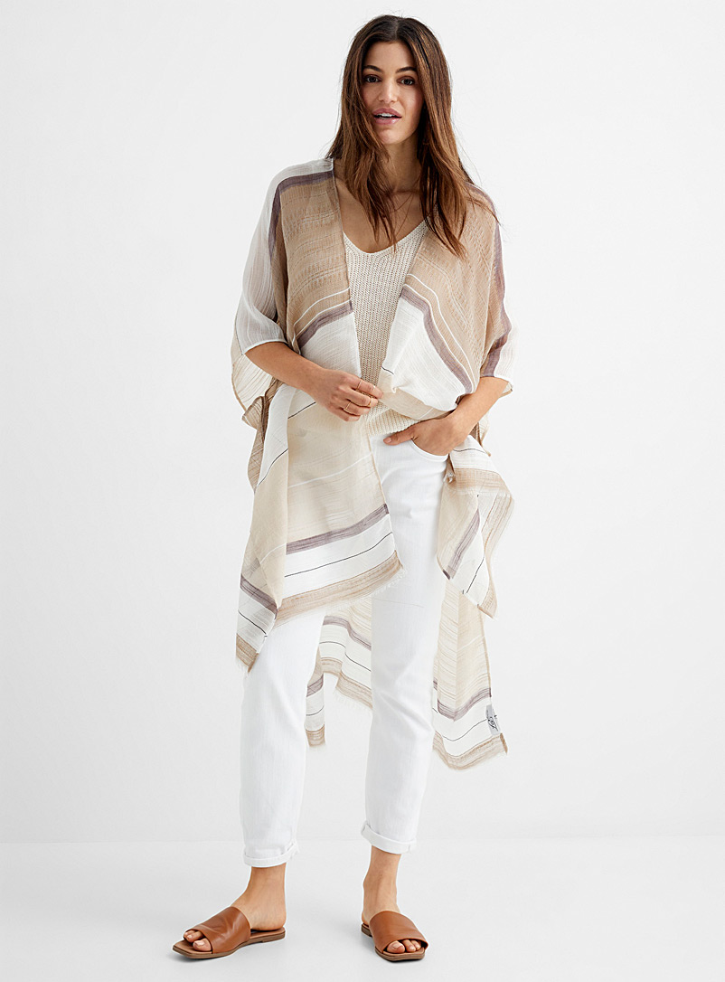 Sheer neutral stripe scarf
