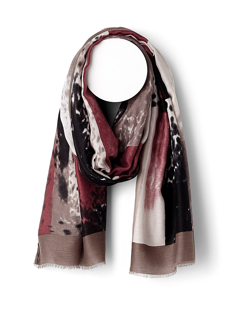 Lyrical abstraction scarf - Light scarves - Patterned Brown
