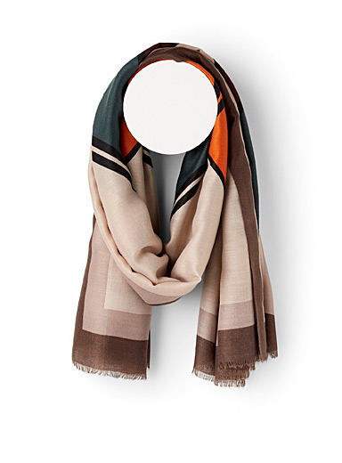 Simons Patterned Brown Inked diamonds scarf for women