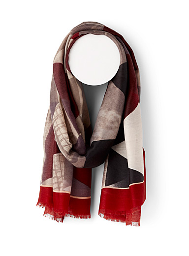 Simons Patterned Red Interior landscape scarf for women