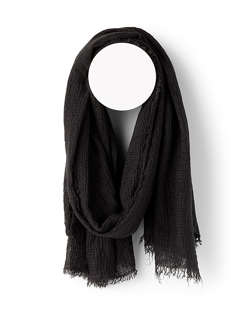 Simons Black Crinkled faux-linen scarf for women