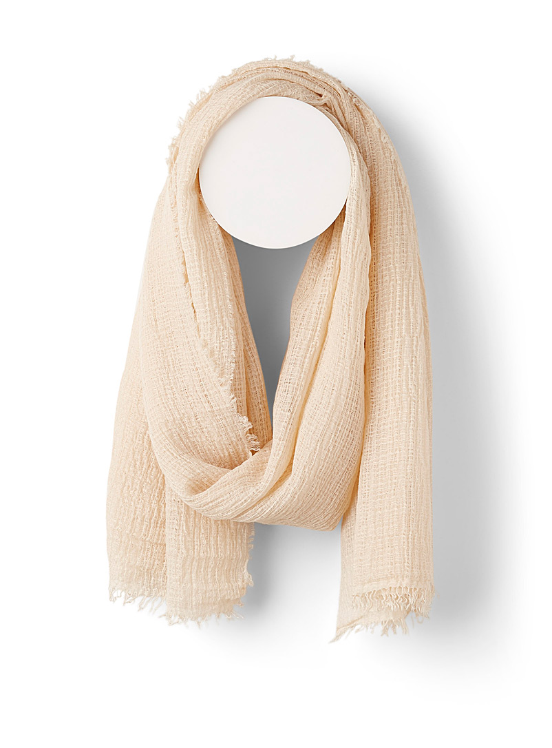 Crinkled faux-linen scarf
