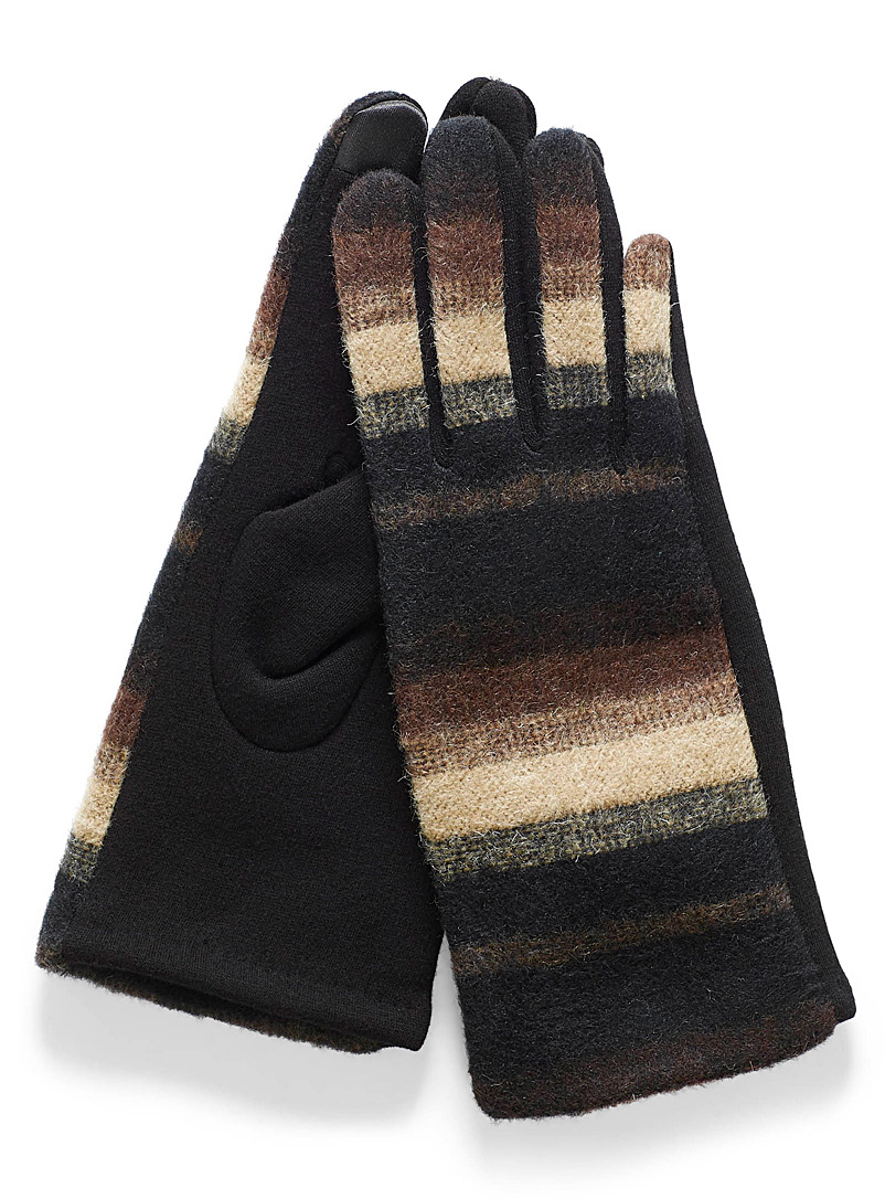 Striped mixed media gloves - Gloves - Patterned Brown