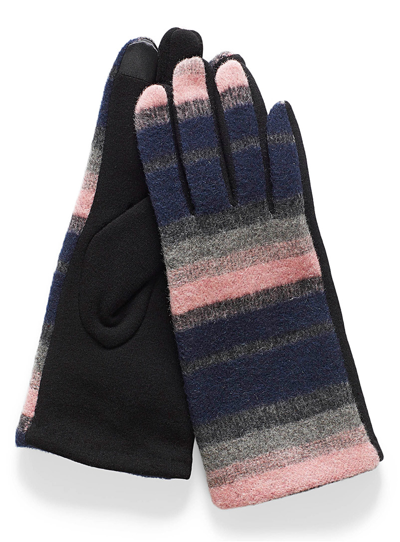 Striped mixed media gloves - Gloves - Patterned Blue