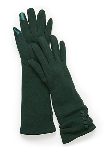 Small button long techno gloves