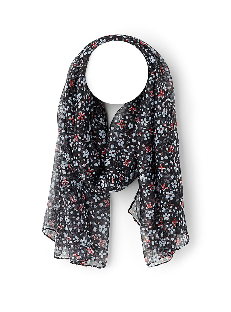 Simons Patterned Black Petal flower scarf for women