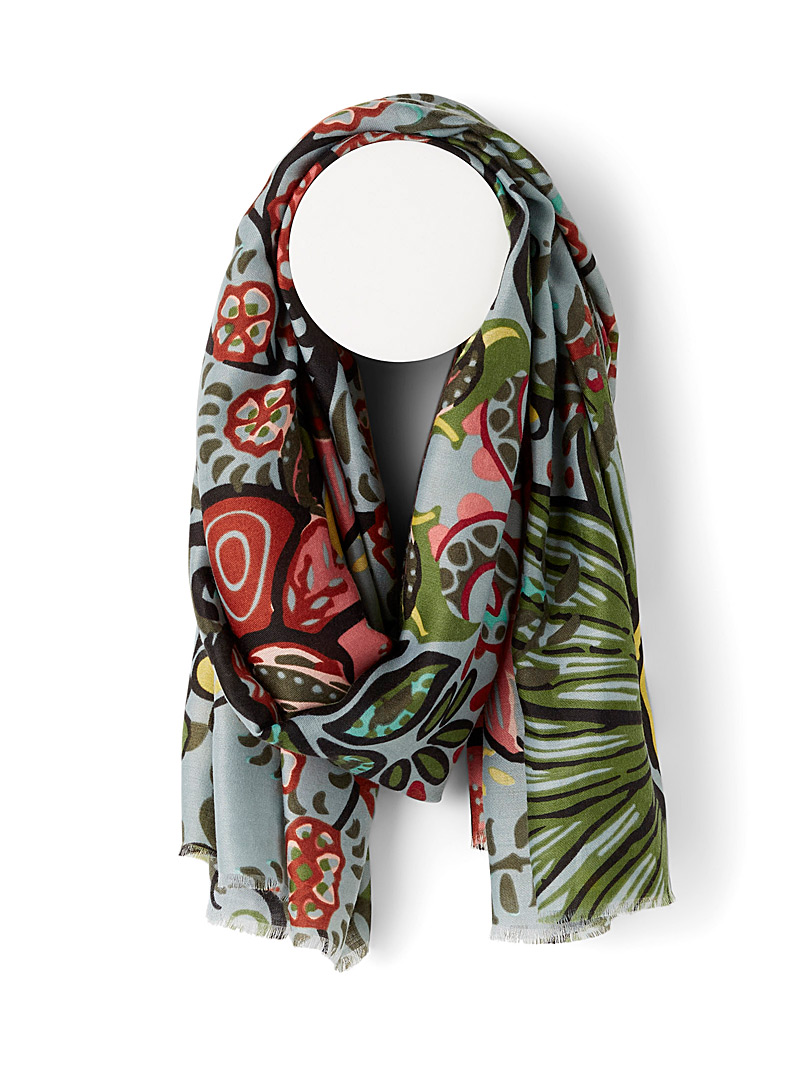 Simons Patterned Green Free blooming scarf for women