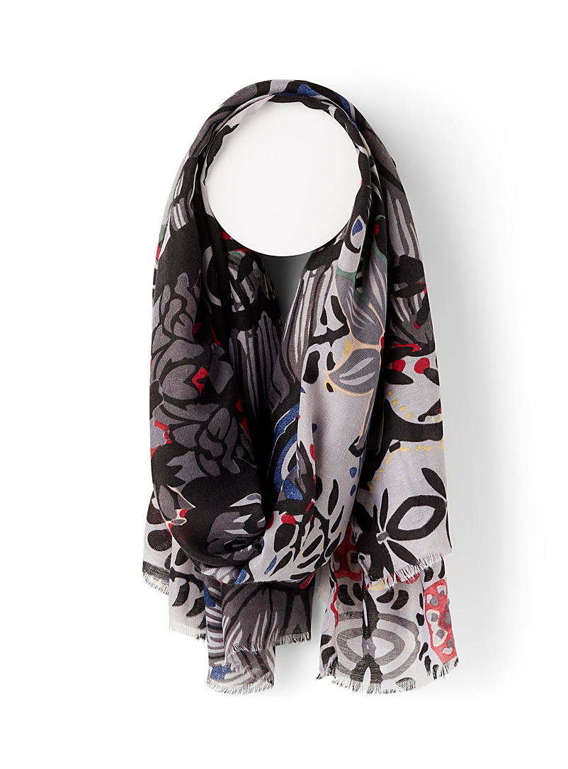 Simons Patterned Black Free blooming scarf for women